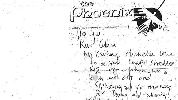 This note, made public by Seattle police, was discovered in the wallet of rock legend Kurt Cobain when he was found dead of an apparent suicide 20 years earlier, in April 1994 - Seattle Police Department